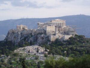 Vista del Areópago y la Acrópolis de Atenas
